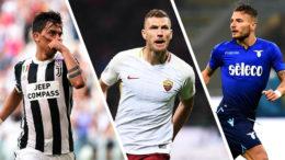 I giocatori di punta delle squadre italiane: da sinistra Dybala della Juventus, Dzeko della Roma ed Immobile della Lazio